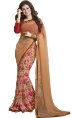 Shopeezo Daily Wear Peach And Beige Color Chiffon Saree/sari