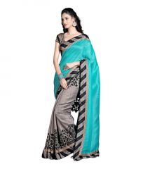 Om Fashion Sky Blue Color Bhagalpuri Printed Saree Bhg1