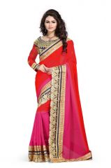 H L Fashion Designer Multi Colour Lace Border With Embroidered Work Georgette Saree With Blouse Mfs-7
