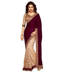 New Designer Saree Maroon Velvet Saree