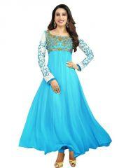 Karishma Kapoor Sky Blue Designer Fancy Georgette Embroidered Anarkali Salwar Suit 3karishma
