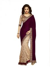 Shopeezo Daily Wear Maroon & Beige Color Velvet & Brasso Saree/sari