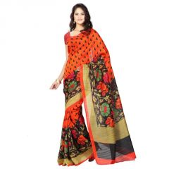 Orange And Black Colour Bhagalpuri Printed Saree