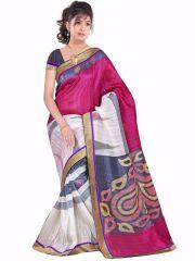 Shubahm Pink And White Color Designer Bhagalpuri Silk Saree - Sc_saree08