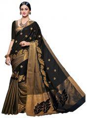Mahadev Enterprises Black Embroidered Work Cotton Silk Saree Pf02