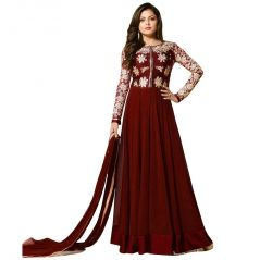 Bollywood Replica Madhubla New Designer Brown Georgette Long Style Anarkali Dress 102F4F52DM