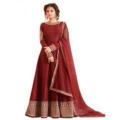 Bollywood replica MAROON COLOR LATEST INDIAN DESIGNER ANARKALI SALWAR KAMEEZ DRESS - (114F4F01DM)