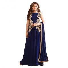 Bollywood replica anarkali suits and salwar kameez - Bollywood replica Drashti Dhami Blue Georgette Party Wear Anarkali Suit - (114F4F05DM)