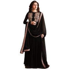 Bollywood replica Drashti Dhami Black Georgette Party Wear Anarkali Suit - (114F4F07DM)