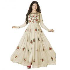Bollywood replica Designer Beautiful Aisha Takiya Off White  Flower Printed Long Anarkali Suit Semi-Stitched Suit - 116F4F24DM