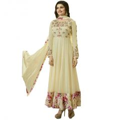 Bollywood replica Designer Beautiful Prachi Desai Beige Long Anarkali Suit Semi-Stitched Suit - 119F4F03DM
