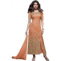 BollyWood Replica Designer Very Attractive Priyanka Chopra ORANGE Embroidered Straight Cut Salwar Kameez - 127F4F02DM