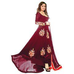 Bollywood Replica Dia Mirza Wine  Georgette Indian Stylish Designer Anarakli Wedding Party Salwar Kameez. - 136F4F06DM