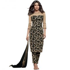 Bollywood Replica Designer Very Attractive Priyanka Chopra Black Embroidered Straight Cut Salwar Kameez.  - 139F4F04DM