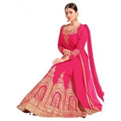 Bollywood Replica AYESHA TAKIA BANARASI SILK LACE WORK PINK LONG CHOLI LEHENGA  (Code - 144F4F04DM)