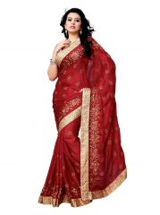Holyday Womens Chiffon  Saree, Red (Bancidhar_Beauty_Red)