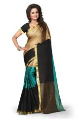 Silk Sarees - Holyday Womens Tassar Silk Self design Saree, Nany blue (Aura_Tiranga_Navy blue)