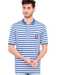 BONATY Cotton Polo Neck Stripes T-Shirt For Men