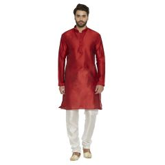 irin Ethnic Blended Silk Maroon Embroidery Kurta And White Churidar For Men
