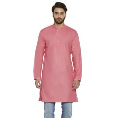 irin Ethnic Poly Cotton Pink Solid Straight Kurta For Men