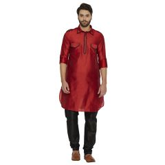 irin Ethnic Blended Silk Solid Maroon Pattani Kurta And Black Churidar For Men