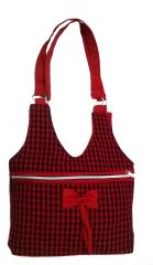 irin Checkered Bow Red Cotton Shoulder Bag