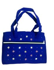Irin Handcrafted Multipocket Royal Blue Cotton Shoulder Bag