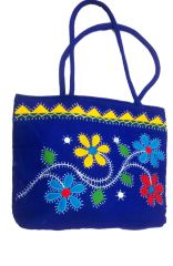 irin Handcrafted Floral Patchwork Royal Blue Cotton Shoulder Bag