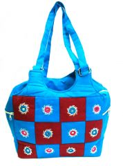 irin Handcrafted Patchwork Blue And Brown Cotton Shoulder Bag