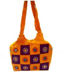 irin Handcrafted Patchwork Yellow And Purple Cotton Shoulder Bag