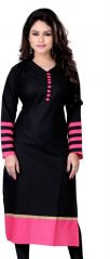 Sargam Fashion Plain Black Cotton Straight Fit Casual Wear Womens And Girls Kurti. - DOTBLACK