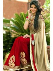Bollywood replica sarees and lehengas - Sellective Bollywood Replica Red And Beige Color Georgette Party Wear Saree - (code - Ebsfs212103)