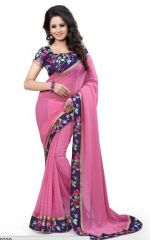 Sargam Fashion Printed Pink Georgette Traditional PartyWear Saree. - Pink Flower Print