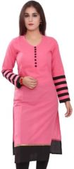 Sargam Fashion Plain Pink Cotton Straight Fit Casual Wear Womens And Girls Kurti. - DOTPINK