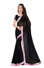 Mother's Day Gifts   Apparels - Sargam Fashion Women's  Georgette Traditional Saree (MADHURIBLACK_Black)