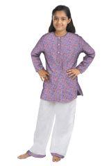 ORANGES AND LEMONS Cupcakes Print Cotton Fabric Kurta & Pyjama Set For Girls