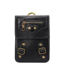 F&d Mobile Phones, Tablets - Crazy Horse Leather Pouch Case with Carabiner  Black