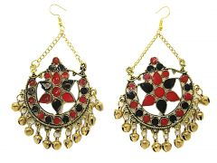 muccasacra Designer Golden Finish Red And Black Afghani Jhumki Earring (Code - JER6150B502)
