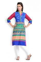 Zola Latest Designer Cotton Blue Printed Kurti (Product Code - 319395)