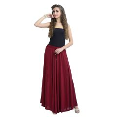 ZOLA Women's Lycra Maroon Color Flared Skirt 391365-M-Free