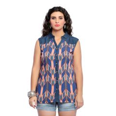 Shirts (Women's) - Zola Womens Designer Cotton Peach Blue Printed Shirt (Prodcut Code - 405104)