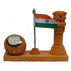 Mariyam Wooden Table Clock with Ashoka Pillar and National Flag