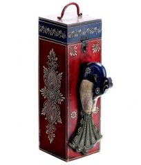 Mariyam Wooden Emboss Work Peacock Wine Bottle Holder