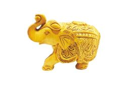 Figurines - Mariyam Wooden Carved Royal Elephant Showpiece
