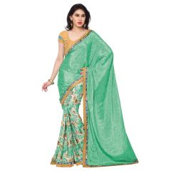 Kotton Mantra Women's Sea Green Crepe Silk Fashion Saree ( KMSM101B )