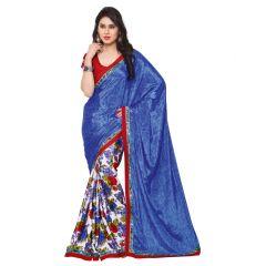 Kotton Mantra Women's Royal Blue Crepe Silk Fashion Saree ( KMSM108A )