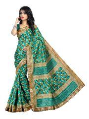 Silk Sarees - Kotton Mantra Green Cotton Silk Lace Border Designer Saree With Blouse Piece (KMBB7001A)