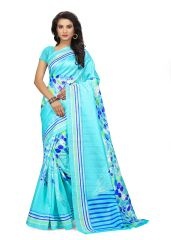 Kotton Mantra Blue Cotton silk Printed Designer & Party wear Saree With Blouse Piece (KMS5V1108)