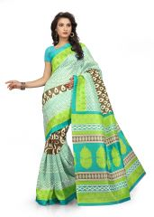 Kotton Mantra Blue Cotton silk Printed Designer & Party wear Saree With Blouse Piece (KMS5V1120)