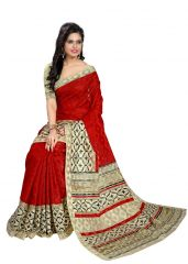 Kotton Mantra Red Jute Cotton Printed Designer Saree With Unstitched Blouse Piece (KMSC31001)